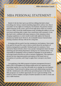Sample of an MBA personal statement