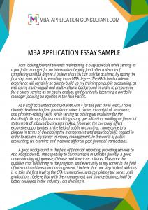 MBA essay sample