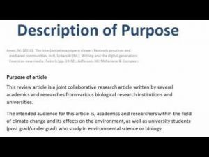 How to describe the purpose of the work when writing a bibliography