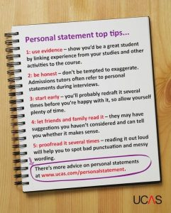 Tips on how to write a personal statement